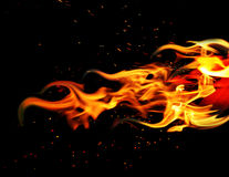 Fire on black Stock Photography