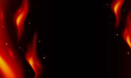 Fire on a black background. From which flames and fly ash Royalty Free Stock Photography