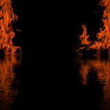 Fire black frame background. Dark abstract background / backdrop with border / frame made of flame / fire pattern / texture and its reflection in water with Royalty Free Stock Photos