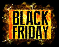 Fire Black Friday Text. Words black friday in fire badge and flames Royalty Free Stock Photo
