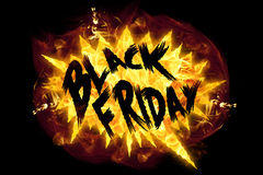 Fire Black Friday. Words black friday in burning flames Royalty Free Stock Image