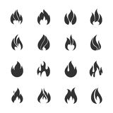 Fire black icons. Vector illustration Stock Image
