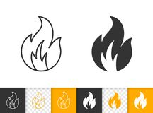 Fire bonfire flame simple black line vector icon. Fire black linear and silhouette icons. Thin line sign of bonfire. Flame outline pictogram isolated on white royalty free illustration
