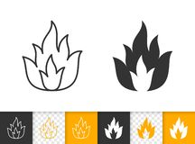 Fire bonfire flame simple black line vector icon. Fire black linear and silhouette icons. Thin line sign of bonfire. Flame outline pictogram isolated on white stock illustration