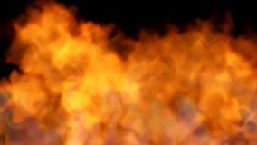 Fire on black - red hot turbulent burning stock footage