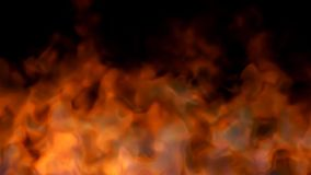 Fire on black - red hot turbulent burning stock video footage