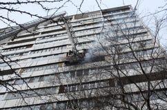 Fire apartment building. black smoke stock photos