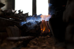 Fire in the blacksmith`s forge Royalty Free Stock Images