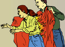 Fire Blanket. An instructional first aid illustration showing the correct use of a fire blanket Stock Photo