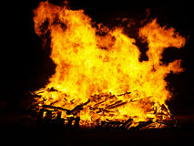 Fire blaze in bonfire  Royalty Free Stock Photo