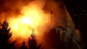 Fire. Blaze Inferno conflagration and combustion. House building on fire at night. Blaze Inferno conflagration and combustion stock video footage