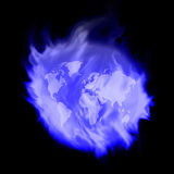 Fire blue earth. The world today. Which heat up every day Stock Image