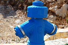 Fire blue hydrant Royalty Free Stock Photo