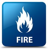 Fire blue square button. Fire isolated on blue square button abstract illustration Royalty Free Stock Photo