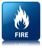 Fire blue square button. Fire isolated on blue square button reflected abstract illustration Royalty Free Stock Image