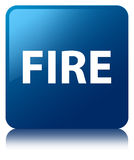 Fire blue square button. Fire isolated on blue square button reflected abstract illustration Royalty Free Stock Images
