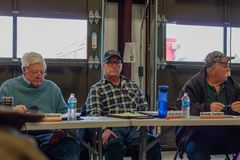 Contentious meeting on 02-13-2018 in small rural town of Julian in San Diego county, Julian Volunteer Fire Department board meetin. Fire board members, Jack Royalty Free Stock Photo