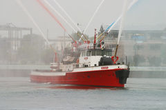 Fire boat Stock Photo