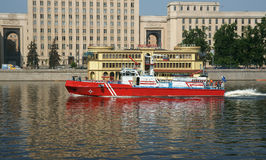 Fire boat. On the Moskva River Stock Images