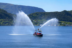 Fire Boat at Alesund Stock Photo