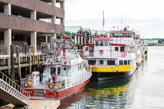 Fire Boat and Ferries in Portland Stock Photo