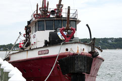 Fire Boat. This is an image taken of a fire boat on the north fork of Long Island Stock Photo