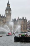Fire boat jets Diamond Jubilee Royalty Free Stock Photo