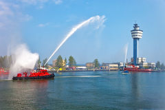 Fire boat show Royalty Free Stock Photos