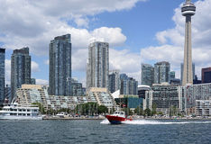 Fire boat. Speeding to an emergency on Toronto's waterfront Stock Image