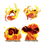 Fire Bomb Effect Element Set Stock Photography