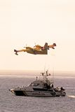 Fire Bomber and Police Boat, Spain. Royalty Free Stock Photos