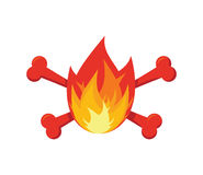 Fire and bones logo for firemen. Flames and crossbones logo.  Royalty Free Stock Image
