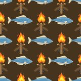 Fire bonfire seamless pattern vector burn flame illustration fish spurts of flame red orange background wallpaper hot. Light backdrop. Burning flammable Stock Photos