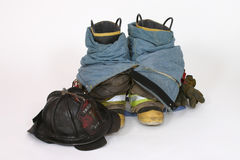 Fire Boots and Helmet. Fire gear Stock Images