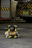 Fire boots and pants ready to action Stock Photos