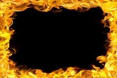 Fire border with flames. Fire flames border, copy space in the center stock photos