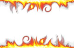 Fire border isolated on white Stock Photos