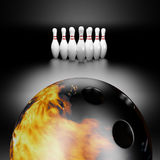 Fire bowling ball. 3d render of a fire bowling ball Royalty Free Stock Images