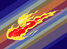 Fire boy. Illustration of a very hot superhero flying very fast on his way Royalty Free Stock Image