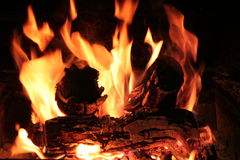 Fire for braai or bbq Stock Photo