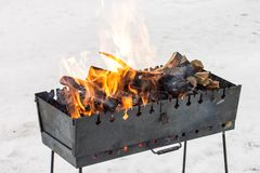 Fire in brazier at winter outdoor Stock Photography