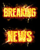 Fire Text Breaking News. Breaking news words in blazing flames Stock Photo