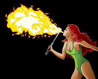 Fire Breather. Drawing of a sexy female fire breather Royalty Free Stock Photo