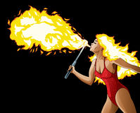 Fire Breather. With fire hair Stock Images