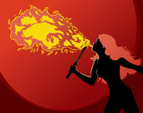 Fire Breather. With flame hair Stock Photography