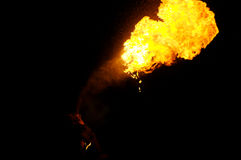 Fire-Breather. In the night royalty free stock photo