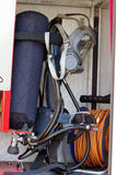 Fire breathing apparatus. Equipment fire truck stock photos