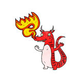 Fire breathing cartoon little dragon Royalty Free Stock Images