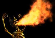 Fire Breathing Demon Skeleton. 3D render of an angry demon skeleton breathing fire Stock Image