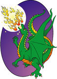 Fire Breathing dragon. A young dragon shows off his fire breathing skills Royalty Free Stock Photos